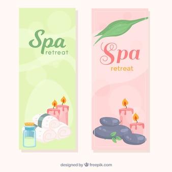 Ensemble de bannières de centre de spa avec des bougies et des huiles aromatiques