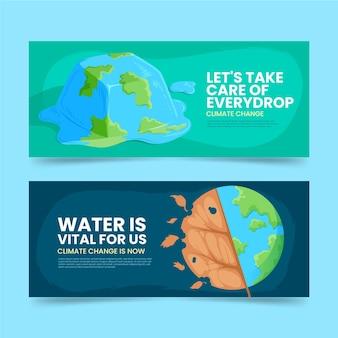 Ensemble de bannières de changement climatique plat dessinés à la main