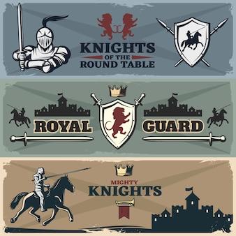 Ensemble de bannières de chevaliers