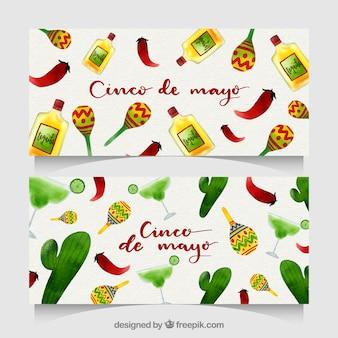 Ensemble de bannières cinco de mayo avec des éléments mexicains
