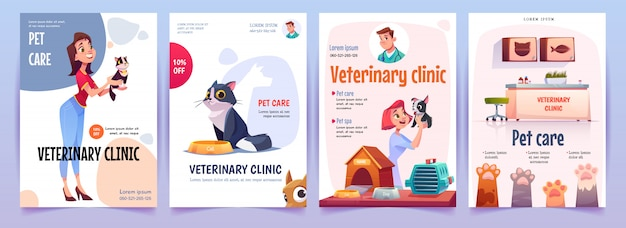 Ensemble de bannières de clinique vétérinaire. affiches des services vétérinaires