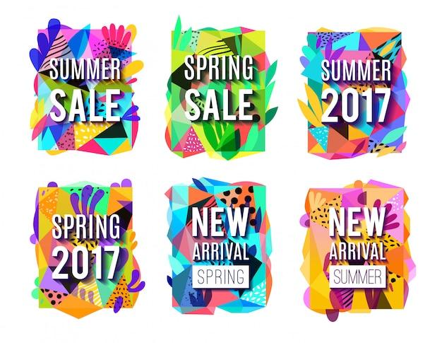Ensemble de bannières colorées abstrait vente