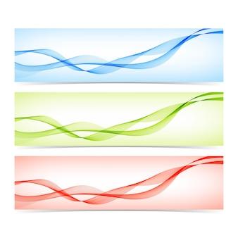Ensemble de bannières colorées avec illustration de lignes courbes