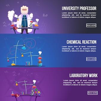 Ensemble de bannières colorées de laboratoire de chimie