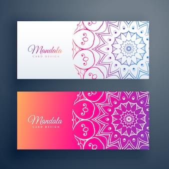 Ensemble de bannières colorées de mandala