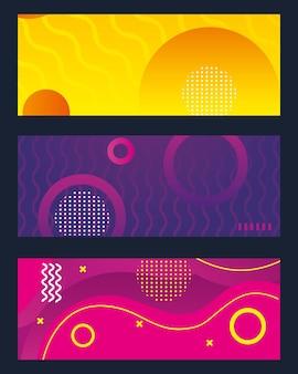 Ensemble de bannières colorées de memphis