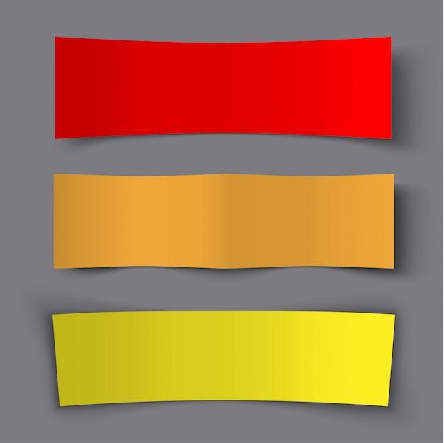 Ensemble de bannières colorées en papier avec des ombres, illustration de conception matérielle