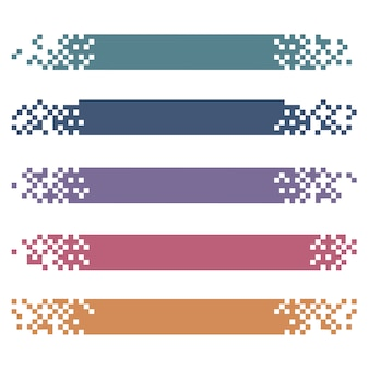 Ensemble de bannières colorées de pixels modernes pour les en-têtes