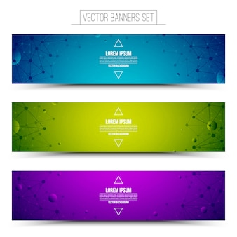Ensemble de bannières colorées de la technologie. entreprise de publicité sur internet. structure filaire.
