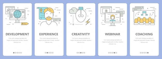 Ensemble de bannières de concept e-learning design plat mince ligne