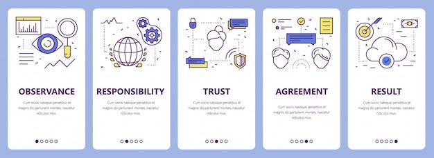 Ensemble de bannières de concept d'engagement design plat ligne mince