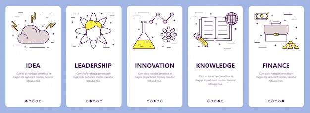 Ensemble de bannières de concept entrepreneur ligne mince design plat