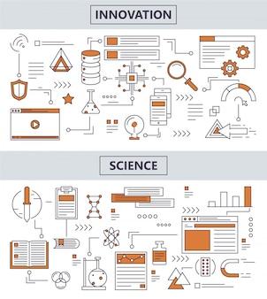 Ensemble de bannières de concept d'innovation scientifique de ligne mince moderne