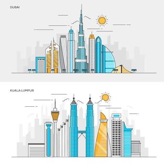 Ensemble de bannières de couleur de ligne pour la ville de dubaï et kuala lumpur. concepts bannière web et documents imprimés. illustration