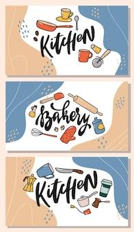 Ensemble de bannières de cuisine avec lettrage et griffonnages