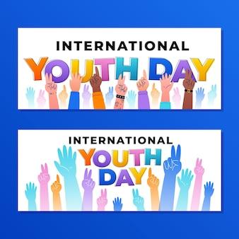 Ensemble de bannières dégradées de la journée internationale de la jeunesse