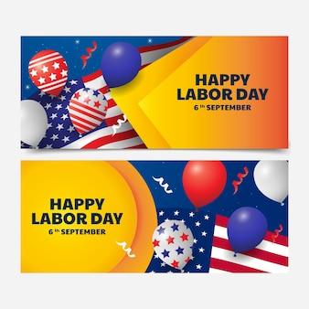 Ensemble de bannières dégradées pour la fête du travail des états-unis