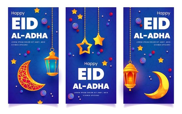 Ensemble de bannières de dessin animé eid al-adha