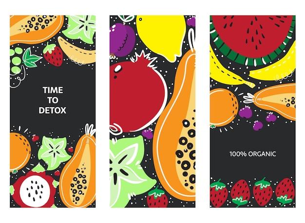 Ensemble de bannières dessinés à la main de fruits. repas, régime, nutrition ou mode de vie sains.
