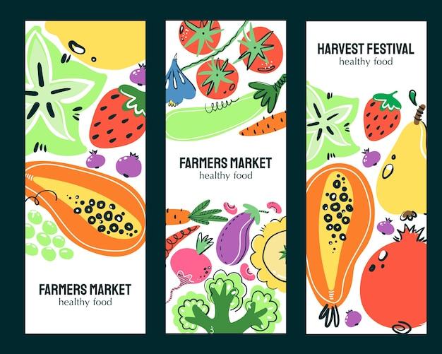 Ensemble de bannières dessinés à la main de légumes et de fruits. repas, régime ou nutrition sains.