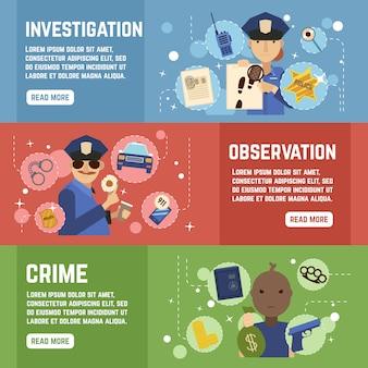 Ensemble de bannières de détective privé