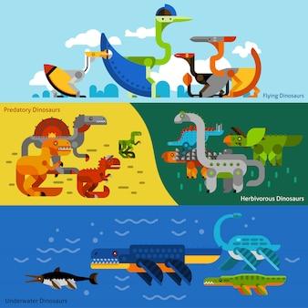 Ensemble de bannières de dinosaures