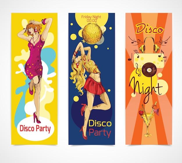 Ensemble de bannières de disco disco
