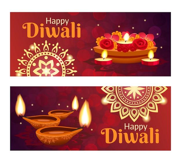 Ensemble de bannières diwali