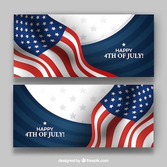 Ensemble de bannières du 4 juillet