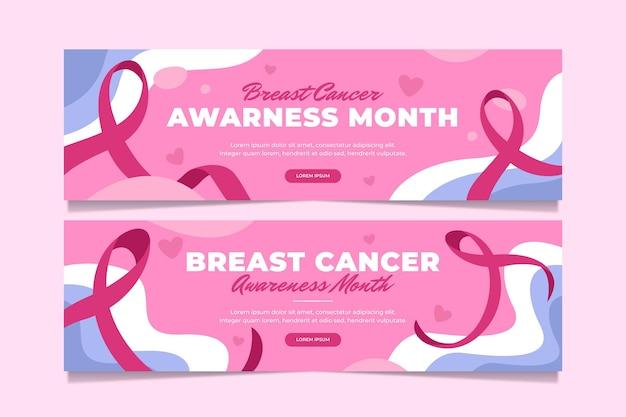 Ensemble de bannières du mois de sensibilisation au cancer du sein plat dessinés à la main