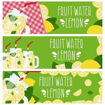 Ensemble de bannières avec de l'eau de fruits brillante dans un bocal avec des citrons.
