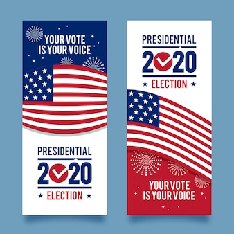 Ensemble de bannières de l'élection présidentielle américaine 2020