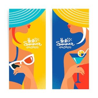 Ensemble de bannières d'été avec de belles silhouettes de femmes. illustration vectorielle