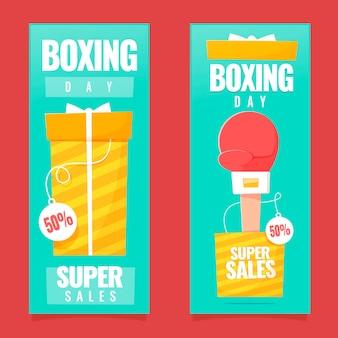 Ensemble de bannières d'événement de jour de boxe design plat