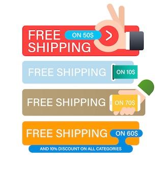 Ensemble de bannières d'expédition gratuite. modèle de conception de bannière pour le marketing.