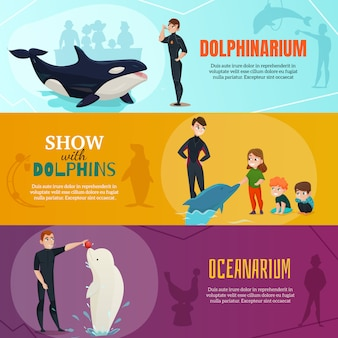 Ensemble de bannières d'exposition dolphinarium