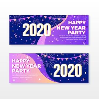Ensemble de bannières fête design plat nouvel an 2020