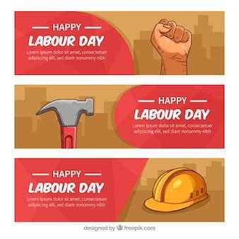 Ensemble de bannières de la fête du travail dans un style dessiné à la main