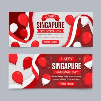 Ensemble de bannières de fête nationale de singapour plat
