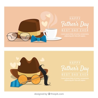 Ensemble de bannières de fête des pères avec chapeau et autres éléments