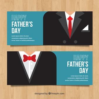 Ensemble de bannières de fête des pères avec des costumes différents