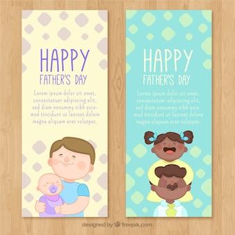 Ensemble de bannières de fête des pères avec des enfants mignons
