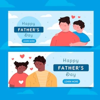 Ensemble de bannières de fête des pères plat bio