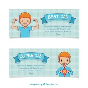 Ensemble de bannières de fête des pères avec super papa