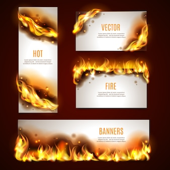 Ensemble de bannières de feu chaud