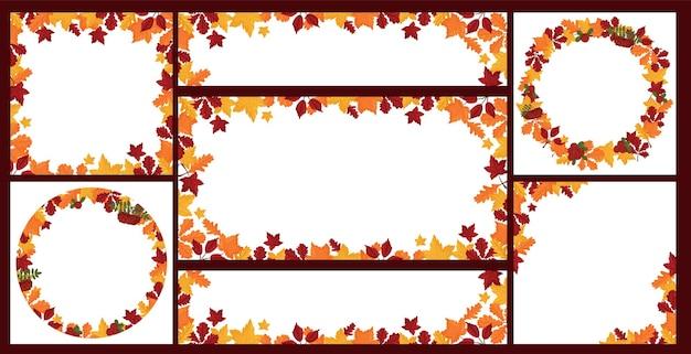 Ensemble de bannières avec des feuilles d'automne colorées. style de dessin animé de vecteur.