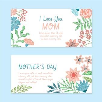 Ensemble de bannières florales pour la fête des mères