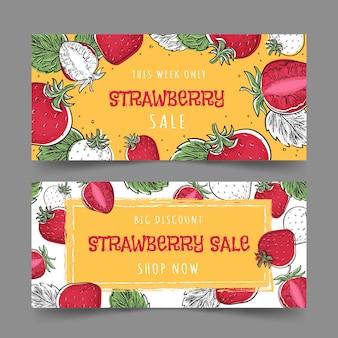 Ensemble de bannières de fruits aux fraises