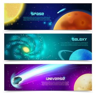 Ensemble de bannières de la galaxie cosmos