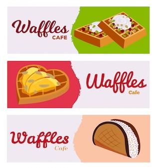Ensemble de bannières gaufres café boulangerie toile de fond illustration. différentes gaufrettes fourrées au goût sucré avec des fruits, des baies et de la crème.